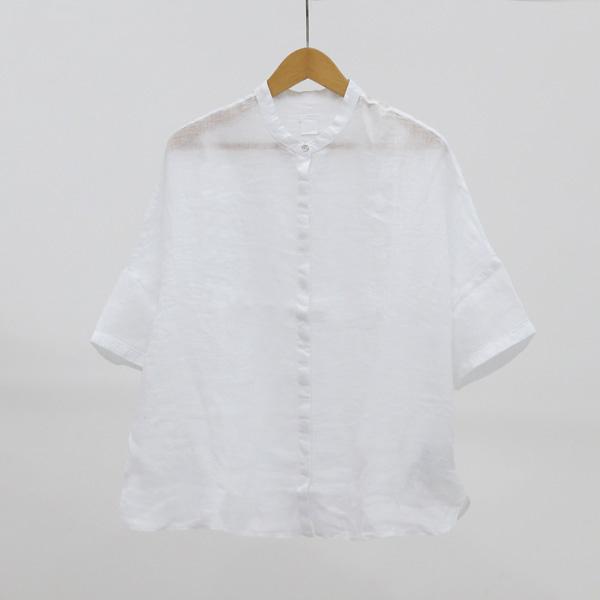 リネン スタンドカラー シャツ WHITE 40