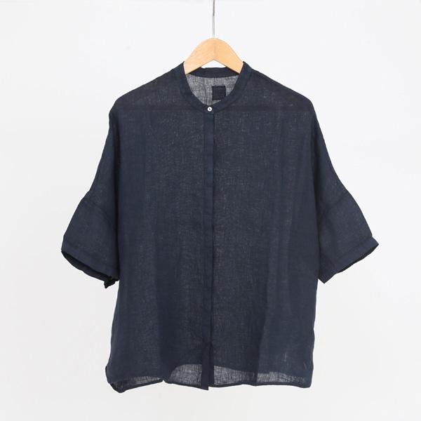 リネン スタンドカラー シャツ BLUE NAVY 40