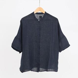 リネン スタンドカラー シャツ