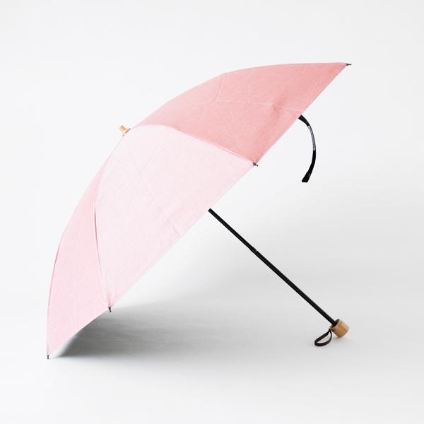 晴雨兼用折りたたみ傘 シャンブレーコーティング(ピンク)