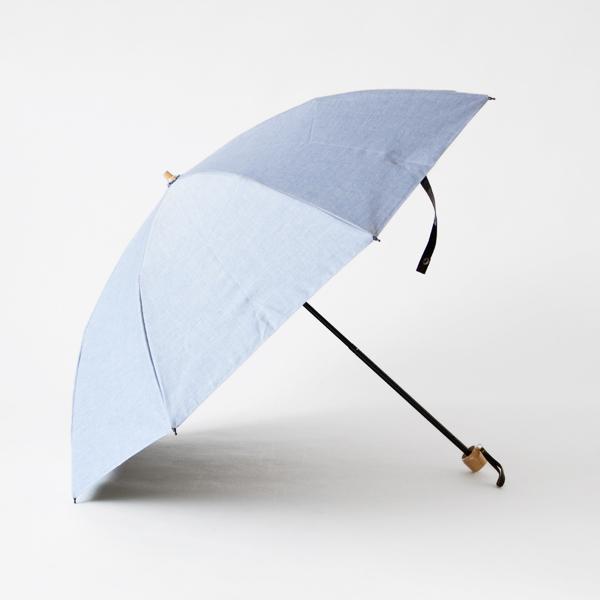 晴雨兼用折りたたみ傘 シャンブレーコーティング( ブルー)