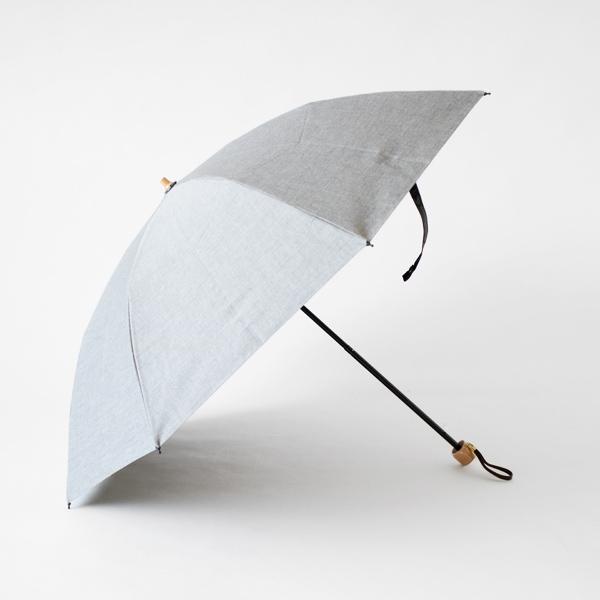 晴雨兼用折りたたみ傘 シャンブレーコーティング(グレー)