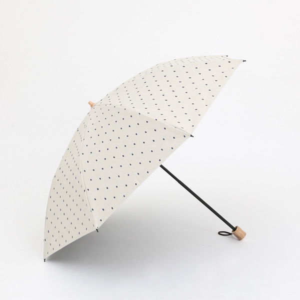 【別注】晴雨兼用折りたたみ傘 フリンジドットシェード ラタンハンドル(IVORY)