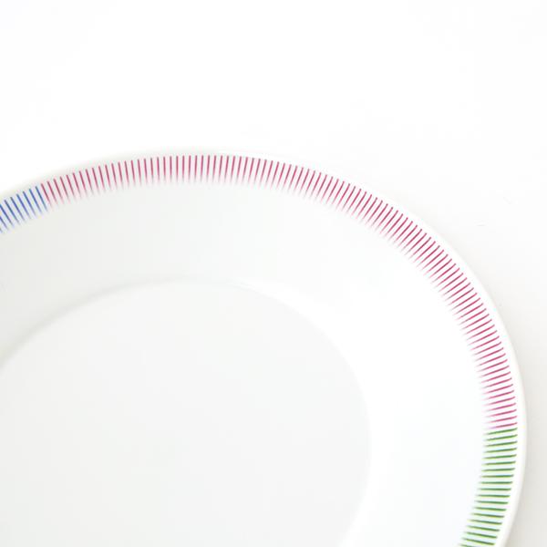 スタンダードな白磁の丸皿の縁にわずかに隆起を作り、陰影とともに色を乗せたデザイン