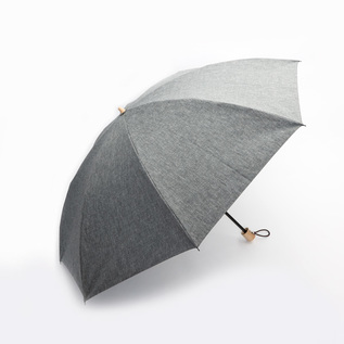 Mens All-weather folding umbrella chambray coating