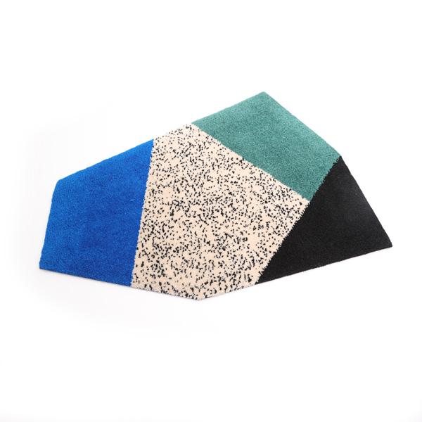 ドット幾何学柄ラグ(BLUE)