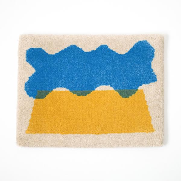 米沢絨毯 スツールラグ(雲と山)