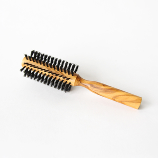 Olive wood roll hair brush