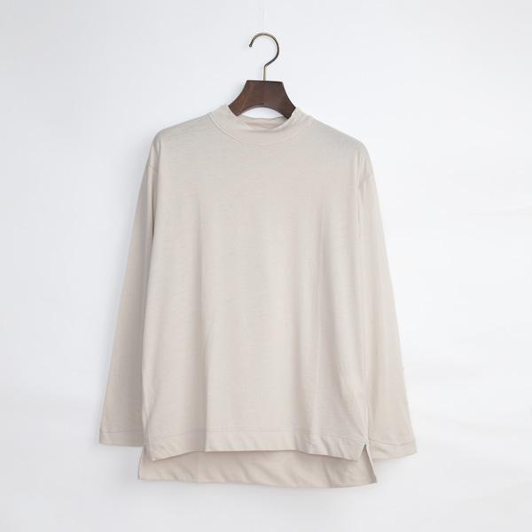 モックネック長袖Tシャツ(BEIGE)