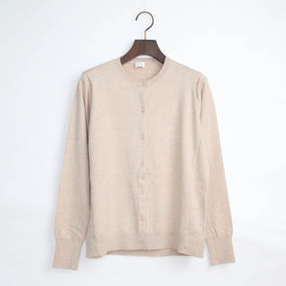 SILK COTTON CREW NECK CARDIGAN