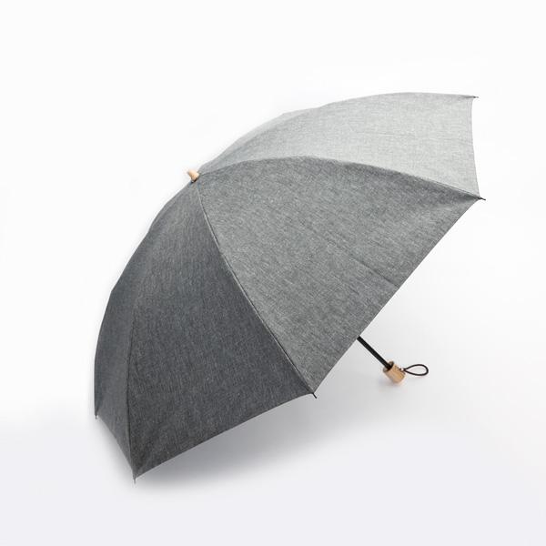 メンズ 晴雨兼用折りたたみ傘 シャンブレーシェード(BLACK)