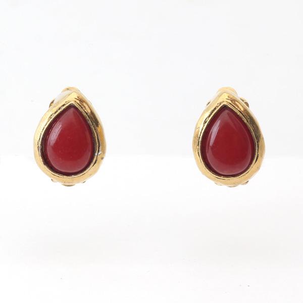 イヤークリップ 天然石(3889N Gold Red)