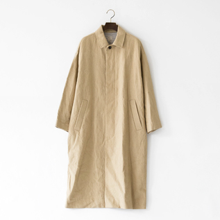 COTTON LINEN BALMACAAN COAT