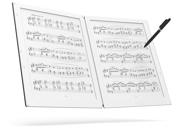 Invented for all musicians. GVIDO, a dedicated dual-screened electric paper music score device.