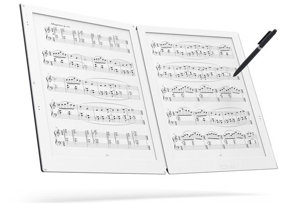Inventato per tutti i musicisti. GVIDO, un dispositivo con doppio schermo basato su tecnologia e-ink per la gestione di spartiti musicali.